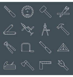 Carpentry tools icons outline vector