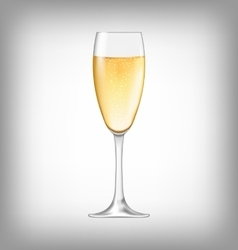 Realistic glass of champagne isolated vector