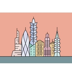 Four different cities and towns vector