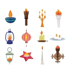Flat style candles and flames collection vector