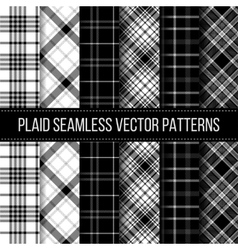 Black and white plaid buffalo check gingham vector