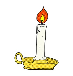 Comic cartoon burning candle vector