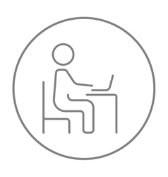 Businessman working at his laptop line icon vector