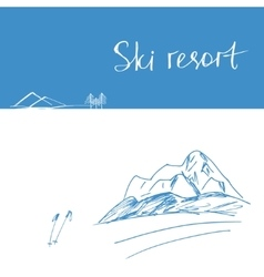 Poster mountains ski resort mountains vector