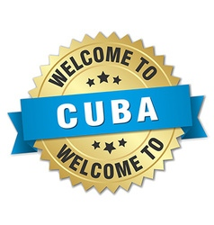 Cuba 3d gold badge with blue ribbon vector