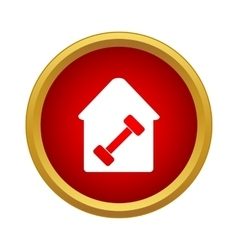 Dumbbell in a house icon simple style vector