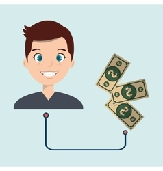 Man with currency isolated icon design vector