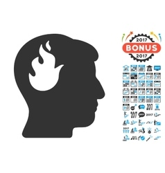 Brain fire icon with 2017 year bonus symbols vector