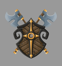 Cartoon black shield vector image vector image