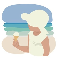 Child in sunhat eating ice cream vector