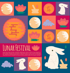 Chinese mid autumn festival icons in flat style vector