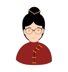 Chinese woman glasses icon vector