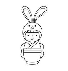 cute japanese doll with a disguise of a rabbit vector image vector image