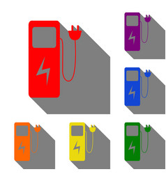 Electric car charging station sign set of red vector