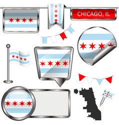 glossy icons with flag of chicago vector image vector image