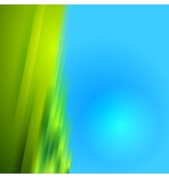 Green blurred stripes on blue bright background vector image vector image