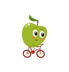 Green cheerful smiling apple riding a bicycle vector image