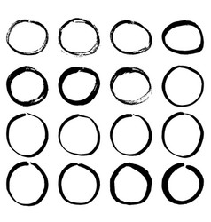grunge hand painting round frame isolated on white vector image