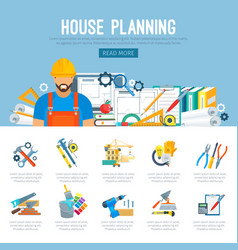 house planning or construction infographics vector image vector image