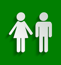 Male and female sign paper whitish icon vector