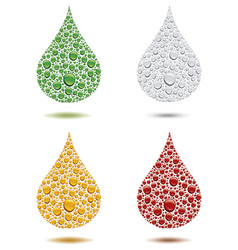 many different color water drops creating big drop vector image