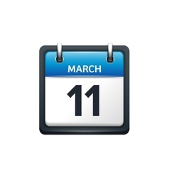 March 11 calendar icon flat vector