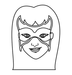 Monochrome contour of woman superhero with long vector