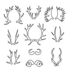 Set horns silhouettes for design vector image
