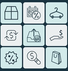 Set of 9 e-commerce icons includes black friday vector