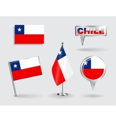 Set of Chilean pin icon and map pointer flags vector image vector image