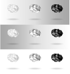 set of low poly clouds of different intensity vector image vector image