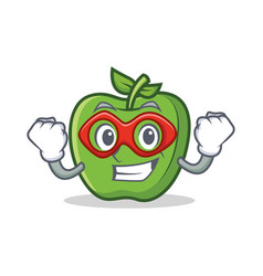 Super hero green apple character cartoon vector