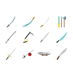 sword icon set flat style vector image