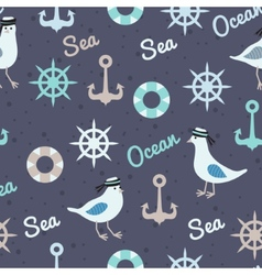 Vintage pattern with seagulls anchors and vector