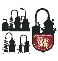 Wine shop set vector