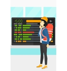 Woman looking at schedule board vector