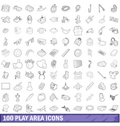100 play area icons set outline style vector