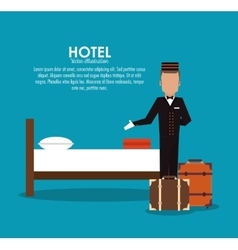 Bellboy bed room hotel service icon vector