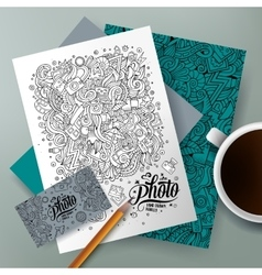 Cartoon doodles photo corporate identity set vector