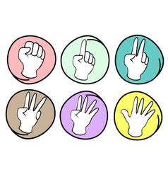 Person counting hands 0 to 5 on round background vector