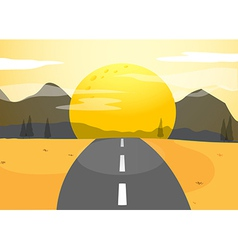 A narrow road and a sunset view vector