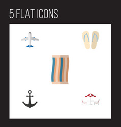 Flat beach set of beach sandals  ship hook vector