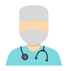 doctor in a mask with stethoscope icon isolated vector image