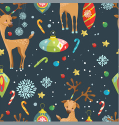 Christmas holiday seamless pattern with reindeer vector