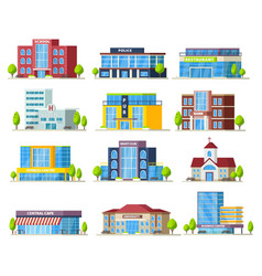 colorful municipal buildings collection vector image