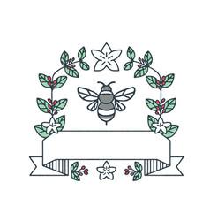 bumblebee coffee leaves cherries flower mono line vector image