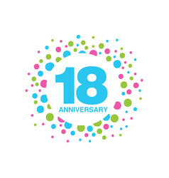 18th anniversary colored logo design happy vector image