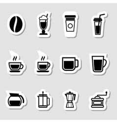 Coffee drinks icons as labels vector