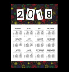 2018 simple business wall calendar with outline vector image vector image