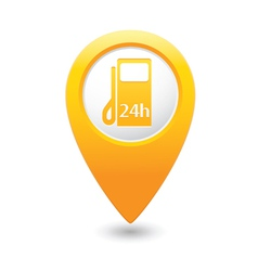 Petrol station 24h map pointer yellow vector